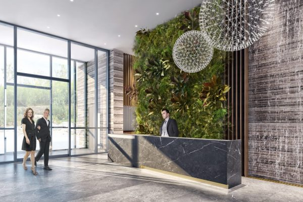 Trinity Ravine front desk render Stay project by Reinders and Rieder